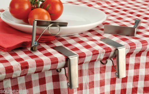 4 Set Tablecloth Clips Holders Spring Action Stainless St...