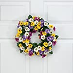 OakRidge-Colorful-Pansy-Wreath-14-Diameter-Silk-Floral-Home-Dcor