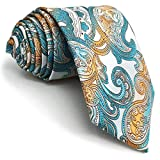 Shlax&Wing Silver Multicolored Paisley Mens Neckties New Fashion Tie Party Silk Long