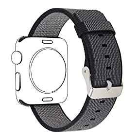 Yichan Woven Nylon Fabric Wrist Strap Replacement Band with Classic Square Stainless Steel Buckle for Apple iWatch Series 1 / 2,Sport & Edition,42mm,Black