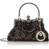 MG Collection Ginny Seed Beaded Rose Evening Purse Clutch Bag
