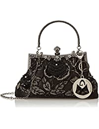 Ginny Seed Beaded Rose Evening Purse Clutch Bag