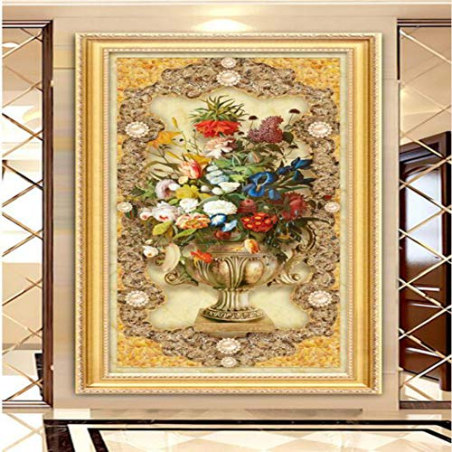 hwhz 3D Wallpaper for Walls Home Improvement European Style Oil Painting Floral Marble Mystery Background Decoration Painting-350X250Cm
