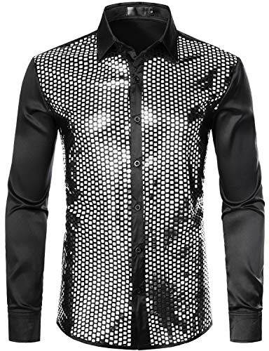 ZEROYAA Men's Shiny Sequin Design 70s Disco Shirt Slim Fit Party Prom Silk Like Satin Dress Shirts ZLCL17-Black Silver Large ()