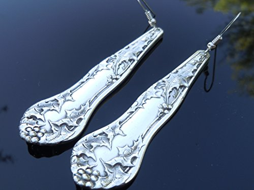 National Silver Holly 1904 Earrings Silverplate