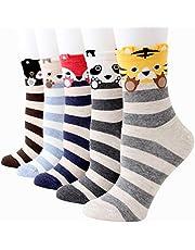 Bakicey Gebreide sokken voor dames en meisjes, katoen, leuk cartoonpatroon, elastische sportsokken, korte sokken, damessokken.