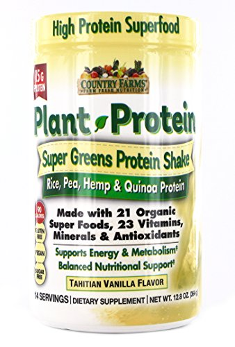Country Farms Super Greens Protein Shake, Plant Protein, Vanilla Flavor, Organic Super Foods, 14 servings