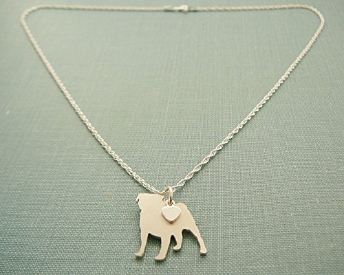 (.925 Sterling Silver Pug Dog charm Necklace layering silhouette jewelry)