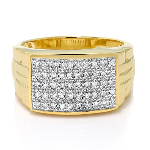 Gem Stone King 10K Solid Yellow Gold Men's 0.25 Cttw White Diamond Pave Anniversary Ring (Available 7,8,9,10,11,12,13) (Size ()