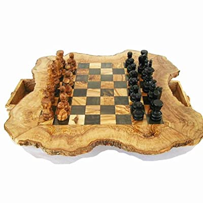 Naturally Med - Olive Wood Rustic Chess Set - 20 inch diameter - with pieces