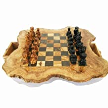 Naturally Med - Olive Wood Rustic Chess Set - 20 inch diameter - with pieces by Naturally Med …