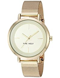 Nine West NW/2146CHGP Women's Quartz Metal and Stainless Steel Dress Watch, Gold-Toned