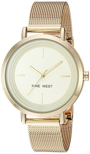 Nine West Women's NW/2146CHGP Gold-Tone Mesh Bracelet Watch