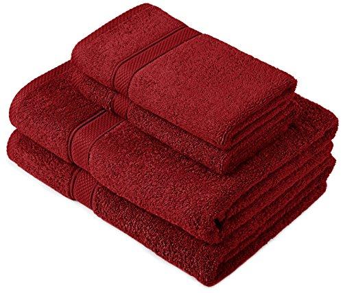 Pinzon by Amazon Lot deserviettes, 2 draps de bain et 2serviettes de bain en coton Rouge Canneberge