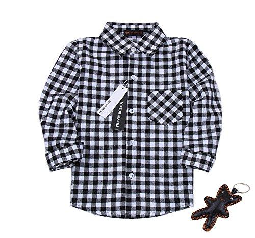 Tortor 1Bacha Little Boys' Long Sleeve Button Down Plaid Flannel Shirt (Gingham Black, 2T) (Boys Black Gingham Shirt)