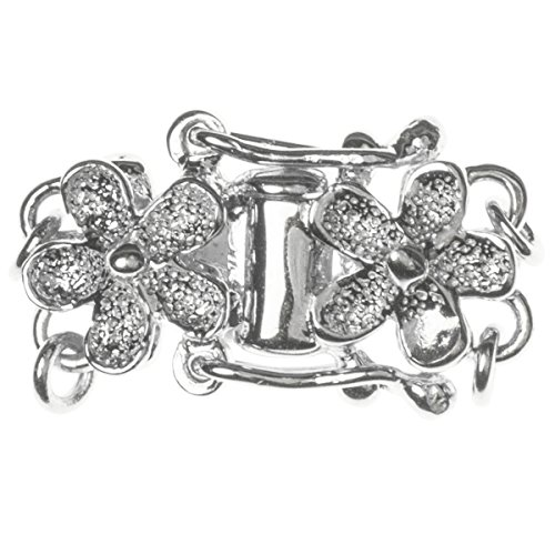 .925 Sterling Silver 2-strand Stardust Flower Pearl Box Clasp Connector Switch Bead with Safety Lock