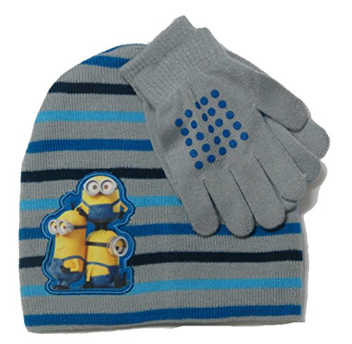 Kids Despicable Me Minions Knit Hat & Gloves