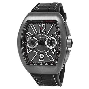 Franck Muller Vanguard Mens Automatic Date Chronograph Titanium Face Black Rubber Strap Watch V 45 CC DT TT BR.NR