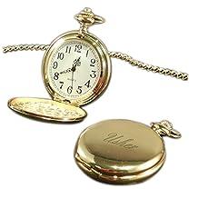 Luxury Engraved Gifts UK Men's Usher Pocket Watch Gold Tone, Personalised / Custom In Gift Box White