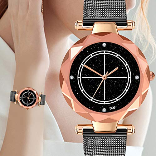 Dial Mesh Bracelet - Sodoop Women's Watches for Sale Rose Gold Starry Sky Rhinestone Dial Ultra Thin Mesh Steel Mesh Bracelet Wrist Strap Watch, Amazon Women's Watches (Black)