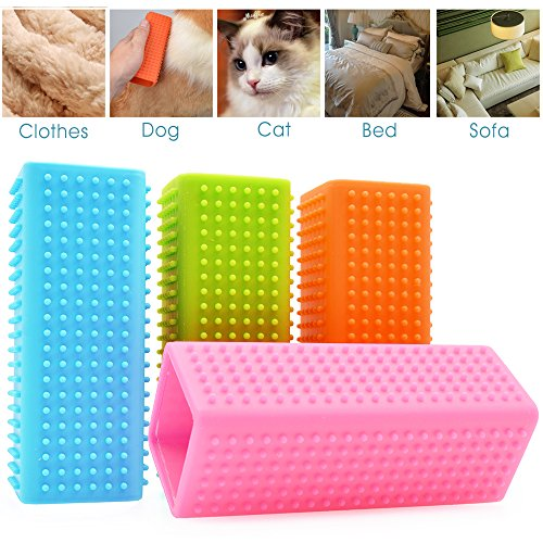 Minhe Pet Hair Removal. Non-toxic Hollow Rubber Pet Dog Cat. With Long & Short Hair. Perfectly reduces shedding. (Pink)