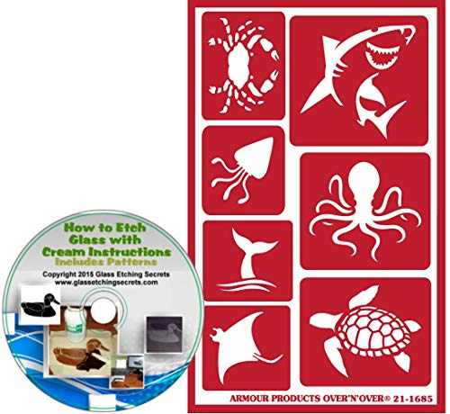 (Sea Life Animal Reusable Stencils: Crab, Shark, Squid, Octopus, Whale Tail, Searay, Sea Turtle Nautical & Beach Adhesive Stencils + How to Etch CD)