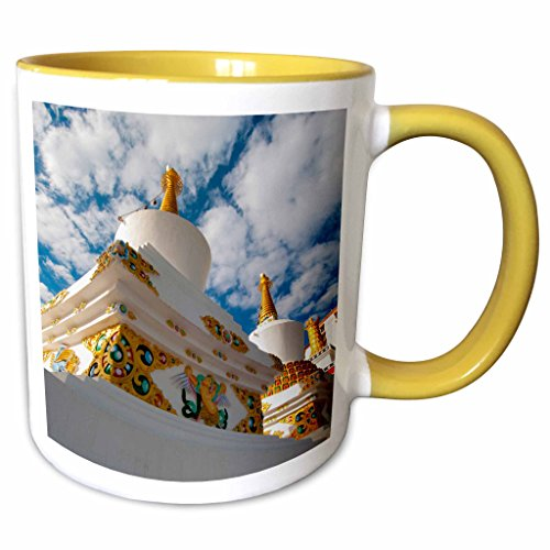 (3dRose Danita Delimont - Ellen Clark - Temples - Jammu and Kashmir, Ladakh, Leh, chortens at Thiksey Monastery - 15oz Two-Tone Yellow Mug (mug_188091_13))