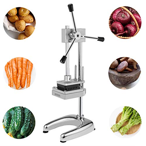 ROVSUN Upgraded Commercial Grade French Fry Cutter with Rudder Stock Lever, Vertical Fruit Vegetable Potato Slicer, Including Suction Feet,1/2-Inch,3/8-Inch,1/4-Inch Blades and Pusher Blocks by ROVSUN (Image #6)