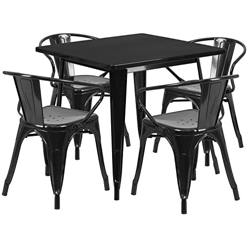(Flash Furniture 31.5'' Square Black Metal Indoor-Outdoor Table Set with 4 Arm Chairs)