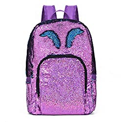 Violet Reversible Sequins School Backpack