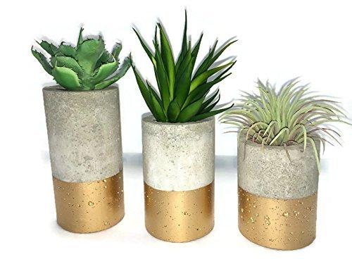 concrete-succulent-planters-urba-planters-set-of-3-gold