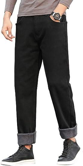 D.IIZOO 防寒 裏ボアワイドジーンズ メンズ 冬用 裏起毛 ゆったりデニムパンツ ストレートストレッチ 無地 大きいサイズ