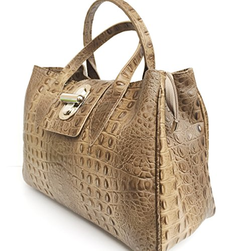 Superflybags Brown Tote Pelle L Borsa Donne Di vXqrRv