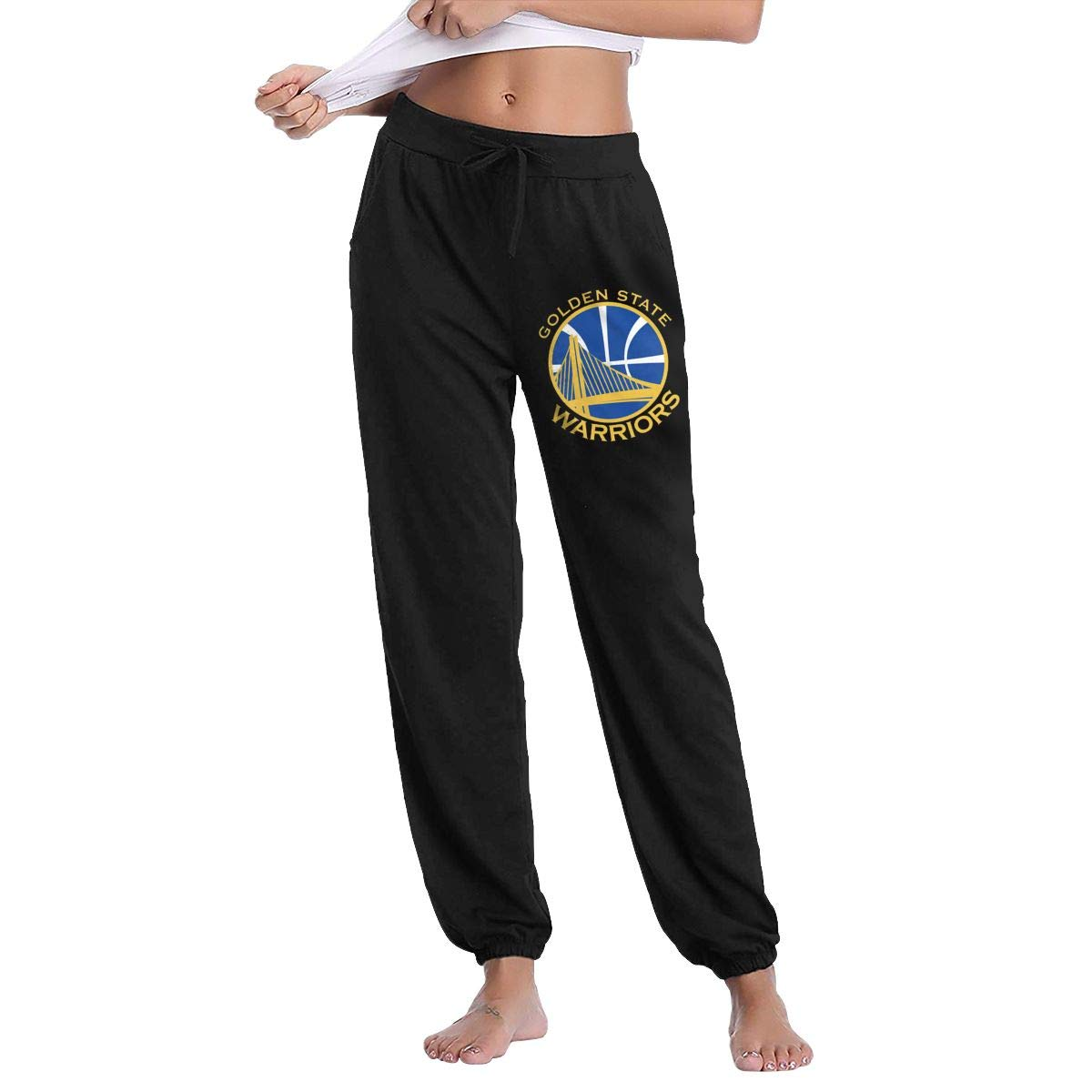 Black L GavDon Women's goldenState SuperStrongWarriors Casual Sweatpants Yoga Jogger Lounge Sweat Pants with Pockets