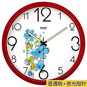 BYLE Silencio de Moda creativa reloj minimalista moderno arte digital dibujo reloj de cuarzo Decoracion Reloj de pared, 13 pulgadas, rojo básico ---561,: ...