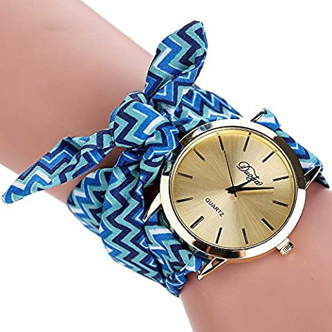 Duoya Women's Colorful Pattern Bracelet Watch Wrap Around Fabric Stripe Band D024 (blue) (Floral Wrap Around Watch)