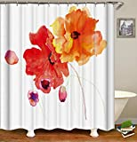 Coral Shower Curtain Livilan Watercolor Splash Floral Fabric Shower Curtain 72