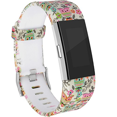RedTaro Bands Compatible with for Fitbit Charge 2, Replacement Accessory Wristbands Owl Design Small ()