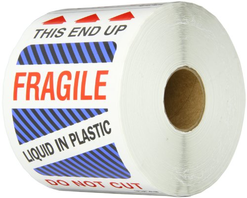 Tape Logic DL1580 Shipping and Handling Label, Legend THIS END UP - FRAGILE - LIQUID IN PLASTIC - DO NOT CUT with Graphic, 6