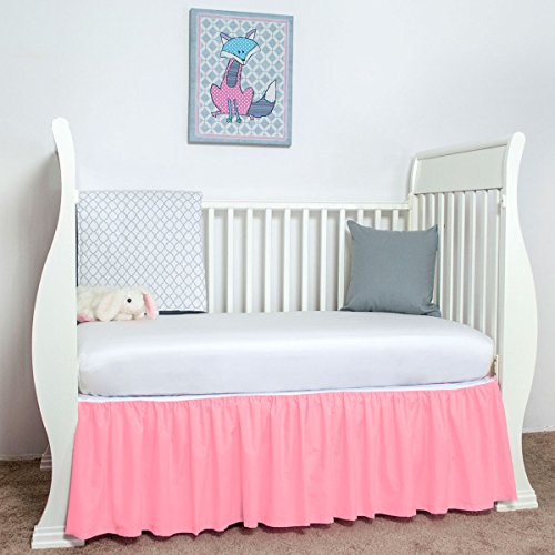 (Pink Cribskirt Crib Dust Ruffle Crib Bed Skirt 15 inches Long Gathered)