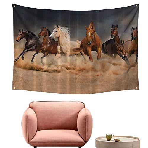 "alsohome Dorm Tapestry Wall Hanging Rectangle Tapestry for Living Room Hroom Masculine Running Horses Southwestern Home Accessories House Deco 84""X70"""