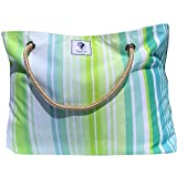 Classic Beach Bag, Pool Bag or Travel Tote- California Style Water Resistant (Green Machine)