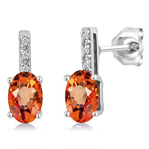 1.10 Ct Oval 6x4mm Orange Sapphire and Diamond 14K White Gold Stud Earrings (14k 6x4mm Oval Sapphire Ring)