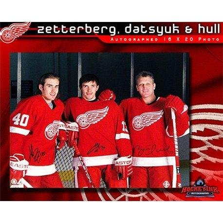 Brett Hull Signed Red Wings - Henrik Zetterberg Pavel Datsyuk and Brett Hull Detroit Red Wings Autographed 16 x 20 Photo - Autographed NHL Photos