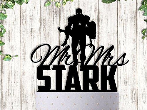 Ironman With last Name Superhero Inspired Wedding Cake Topper ()