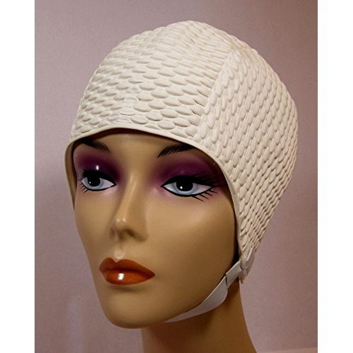 Bubble Crepe Swim cap with Chin Strap (Adult - Strap Cap Swim With
