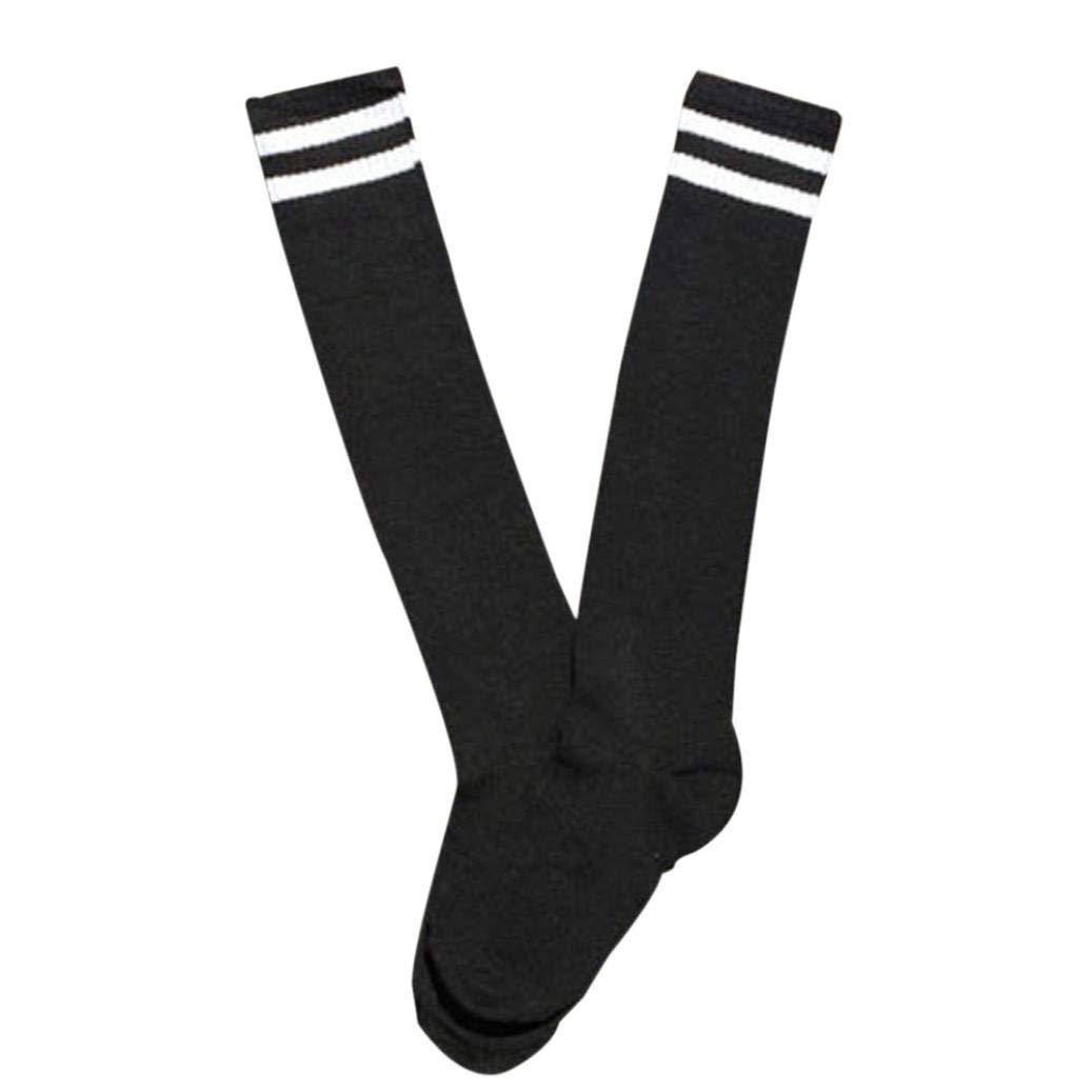 Sport Long Socks,Teens Soccer Breathable Elastic Over Knee High Sock Baseball Hockey (Black)