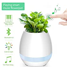 Smart Music Flower Pot, Colisivan Touch Plant Piano Music Playing Plant Pot Smart Multi-color LED Light Round Wireless Rechargeable Bluetooth Speaker for Office,Bedroom,Living Room (White)