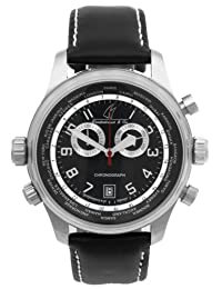 DIEVAS German Made Shadow 500m WR Watch with Hardened 6Steel Case on a Black Leather Strap