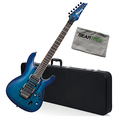 Ibanez S670QM S Series Electric Guitar (Sapphire Blue) w/Hard Case and Geartree (Ibanez S670qm S Series Electric Guitar Sapphire Blue)